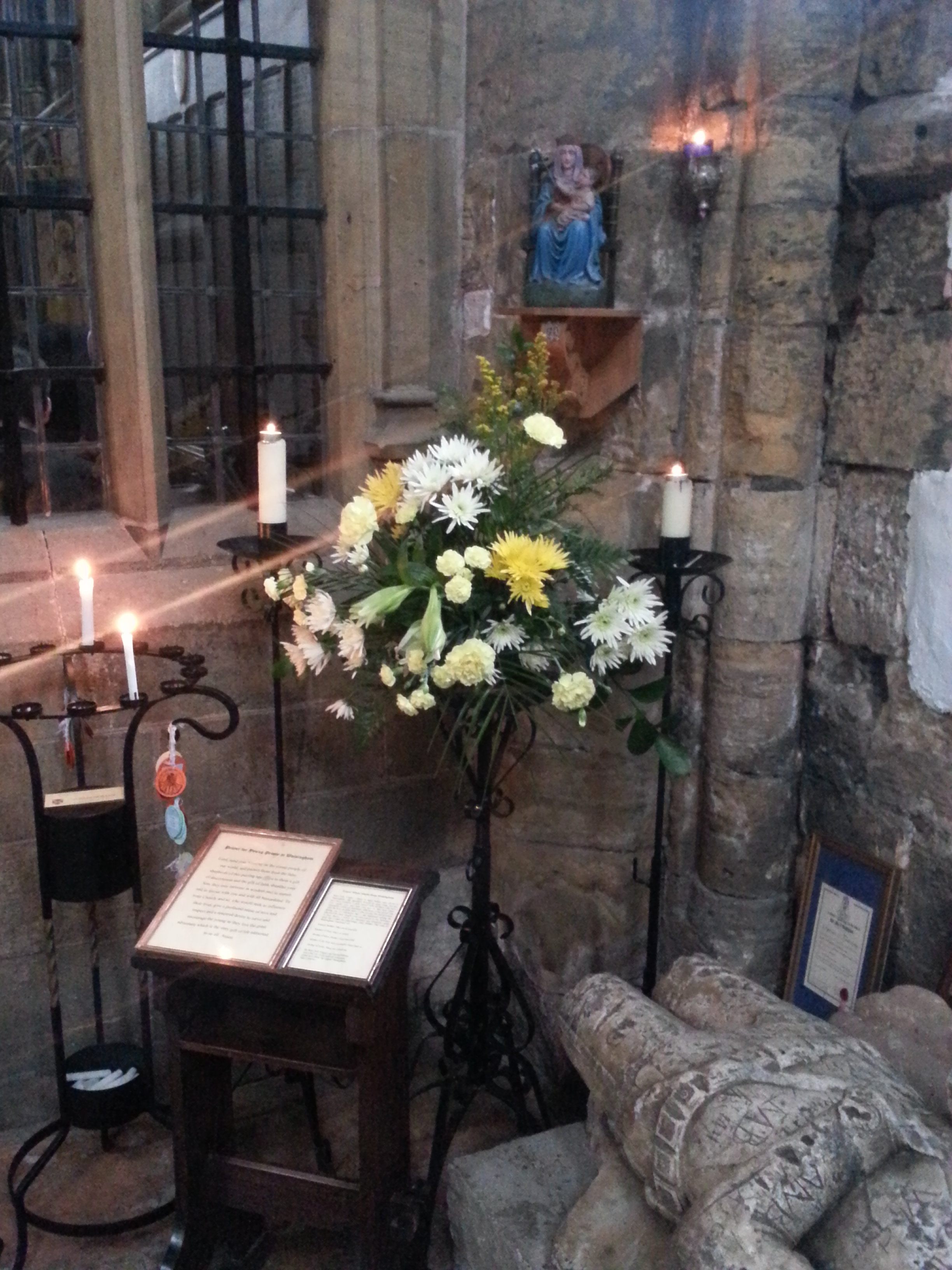 Our Lady of Walsingham & Flower Arrangement